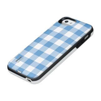 Light Blue and White Gingham Pattern iPhone SE/5/5s Battery Case