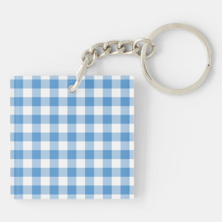 Light Blue and White Gingham Pattern Keychain