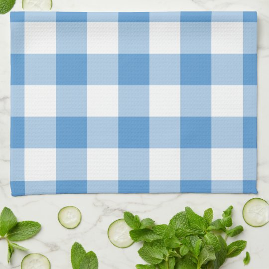 Light Blue and White Gingham Pattern Kitchen Towel