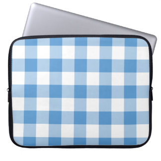 Light Blue and White Gingham Pattern Laptop Sleeves