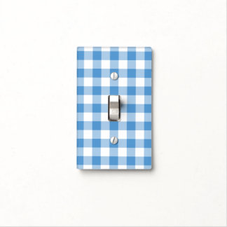 Light Blue and White Gingham Pattern Light Switch Cover