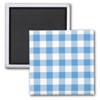 Light Blue and White Gingham Pattern 2 Inch Square Magnet