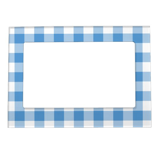 Light Blue and White Gingham Pattern Magnetic Picture Frame