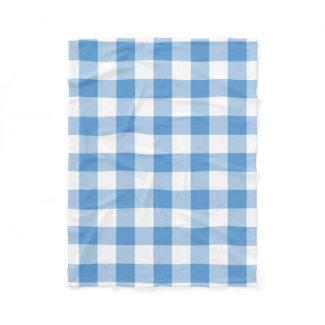 Light Blue and White Gingham Pattern Fleece Blanket