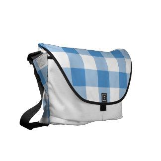 Light Blue and White Gingham Pattern Messenger Bag