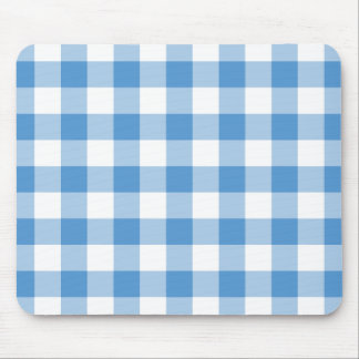 Light Blue and White Gingham Pattern Mouse Pad