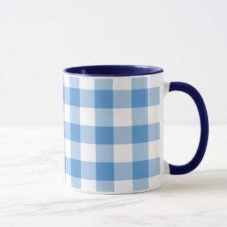 Light Blue and White Gingham Pattern Mug