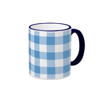 Light Blue and White Gingham Pattern Ringer Coffee Mug