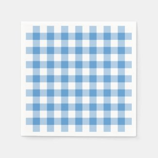 Light Blue and White Gingham Pattern Napkin