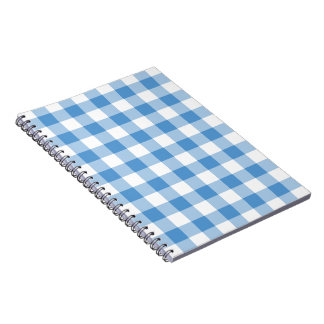 Light Blue and White Gingham Pattern Spiral Note Books