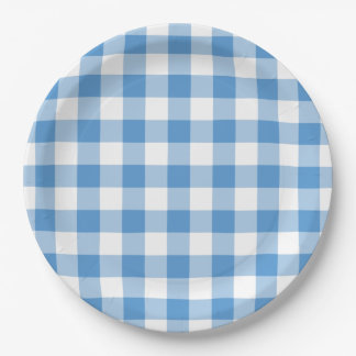 Light Blue and White Gingham Pattern Paper Plate