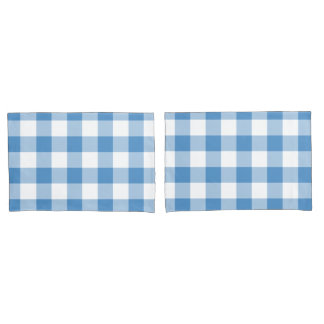 Light Blue and White Gingham Pattern Pillow Case