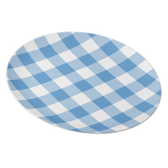 Light Blue and White Gingham Pattern Plate