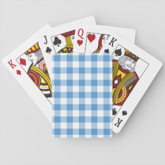 Light Blue and White Gingham Pattern Playing Cards
