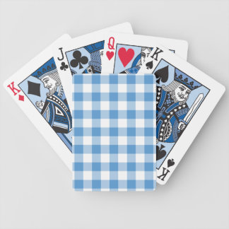 Light Blue and White Gingham Pattern Bicycle Poker Deck