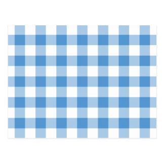 Light Blue and White Gingham Pattern Postcard
