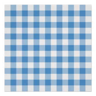 Light Blue and White Gingham Pattern Poster