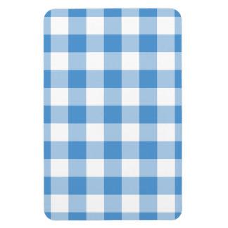 Light Blue and White Gingham Pattern Rectangular Photo Magnet