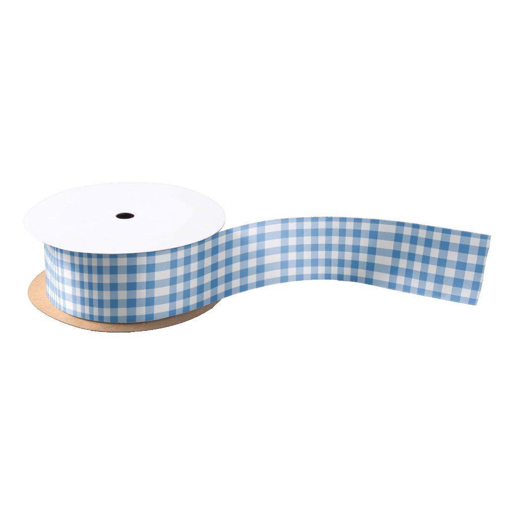 Light Blue and White Gingham Pattern Satin Ribbon