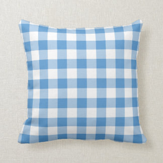 Light Blue and White Gingham Pattern Throw Pillow