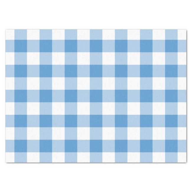 Light Blue and White Gingham Pattern Tissue Paper