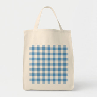 Light Blue and White Gingham Pattern Tote Bag