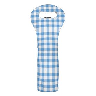 Light Blue and White Gingham Pattern Wine Bag