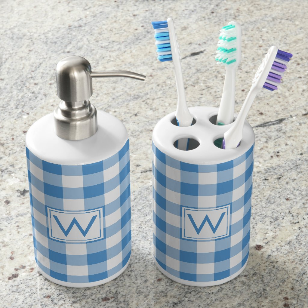 Light Blue and White Gingham Pattern with Monogram Bath Set