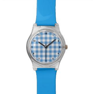 Light Blue and White Gingham Pattern Wrist Watch