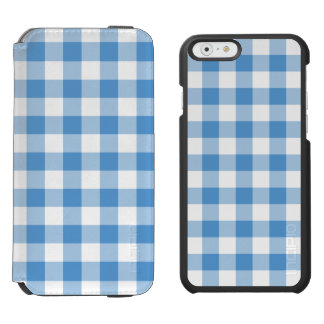 Light Blue and White Gingham Pattern Incipio Watson™ iPhone 6 Wallet Case