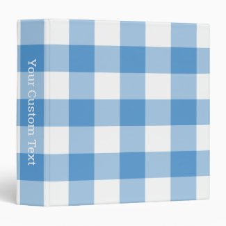 Light Blue and White Gingham Plaid Custom Title 3 Ring Binder