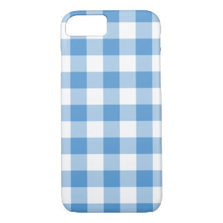Light Blue and White Gingham Plaid iPhone 7 Case