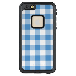 Light Blue and White Gingham Plaid LifeProof® FRĒ® iPhone 6/6s Plus Case