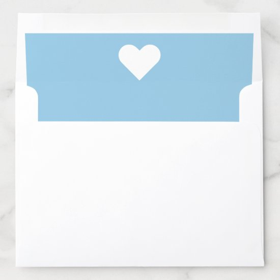 Light Blue and White Heart Envelope Liner