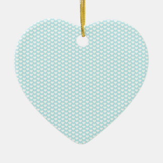Light Blue and White Hearts Ceramic Ornament