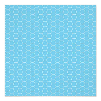 Light Blue and White Honeycomb Pattern Gifts 5.25x5.25 Square Paper Invitation Card