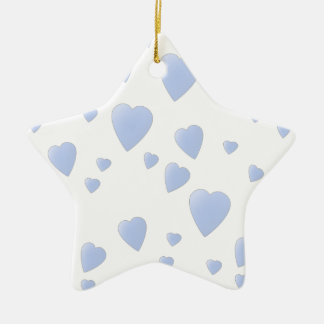 Light Blue and White Love Hearts Pattern Ornaments