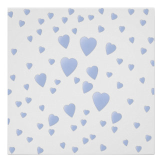 Light Blue and White Love Hearts Pattern. Poster