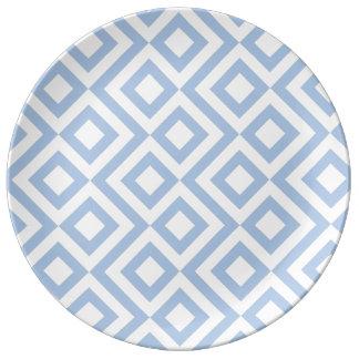 Light Blue and White Meander Dinner Plate