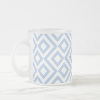 Light Blue and White Meander Frosted Glass Coffee Mug