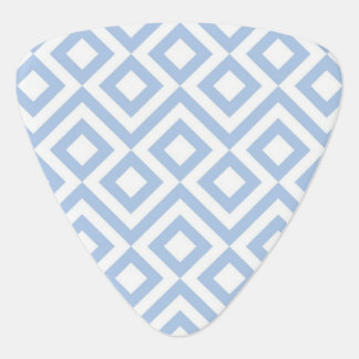 Light Blue and White Meander Guitar Pick