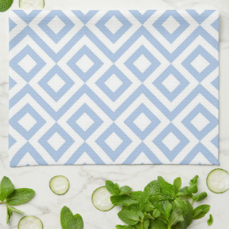 Light Blue and White Meander Hand Towel