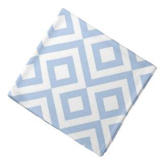 Light Blue and White Meander Head Kerchiefs