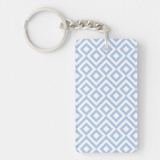 Light Blue and White Meander Keychain