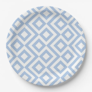 Light Blue and White Meander Paper Plate
