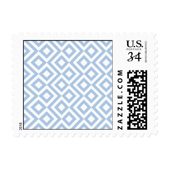 Light Blue and White Meander Postage