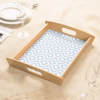 Light Blue and White Meander Serving Platters