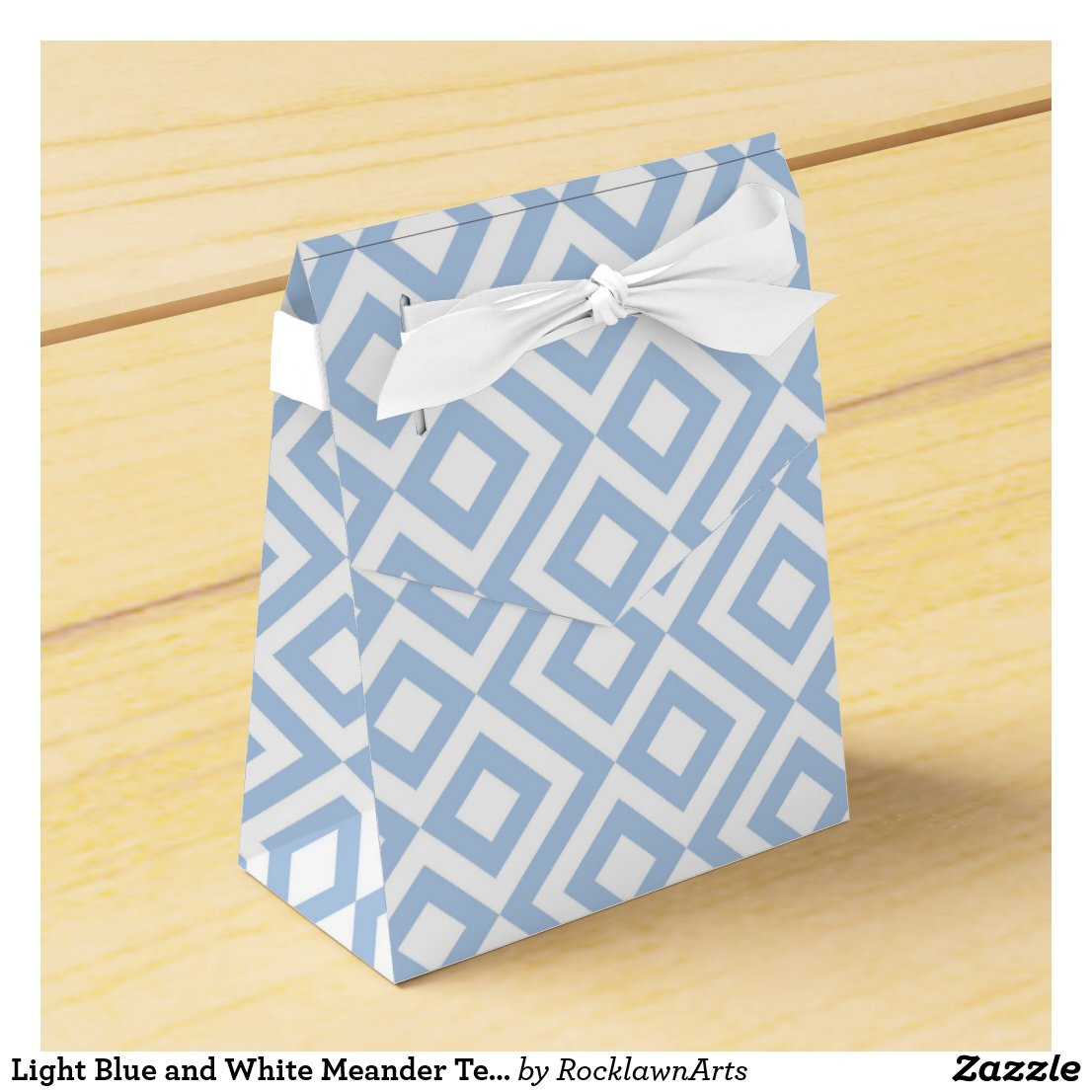 Light Blue and White Meander Tent Favor Box