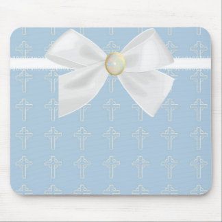 Light Blue and White Mousepad