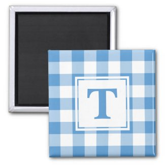 Light Blue and White Plaid Pattern with Monogram Magnet